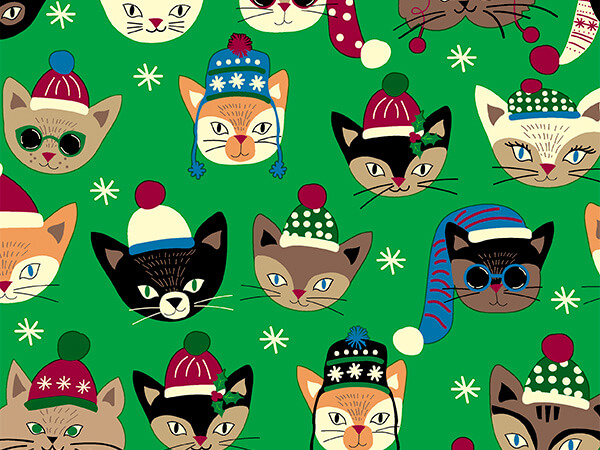 """Christmas Cats 30"""" x 833' Full Ream Roll Gift Wrap"""