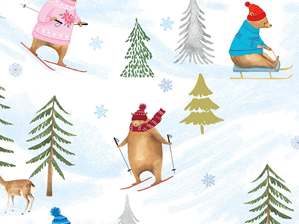 """Bearly Winter Embossed Gift Wrap 30"""" x 417', Half Ream Roll"""
