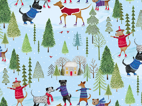 """Dog Days of Winter Embossed Gift Wrap, 24"""" x 417', Half Ream Roll"""