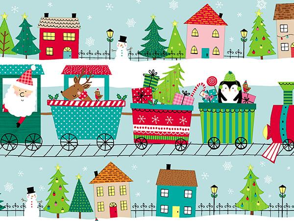 "Christmas Choo Choo Embossed Gift Wrap, 30"" x 417', Half Ream Roll"
