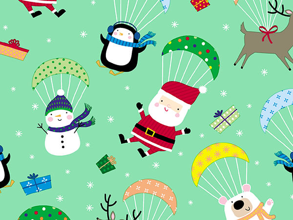 """Chute It's Christmas Embossed Gift Wrap, 24"""" x 417', Half Ream Roll"""
