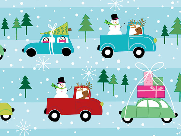 """Holiday Highway Embossed Wrapping Paper, 30"""" x 417', Half Ream Roll"""