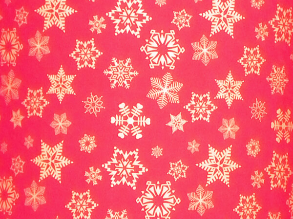 """Gold Snowflakes on Red Embossed Gift Wrap, 24"""" x 417', Half Ream"""