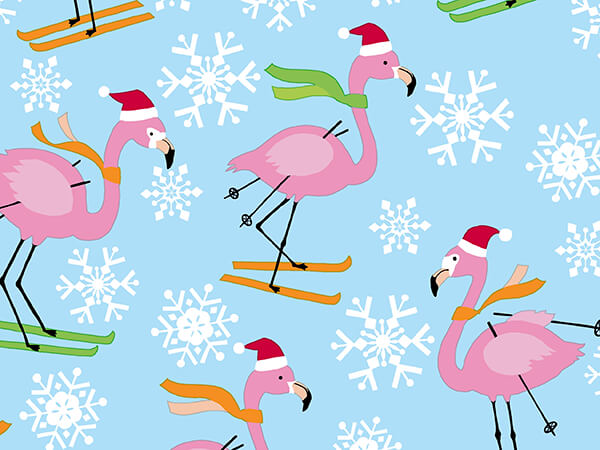 """Skiing Flamingos Wrapping Paper 30"""" x 417', Half Ream Roll"""