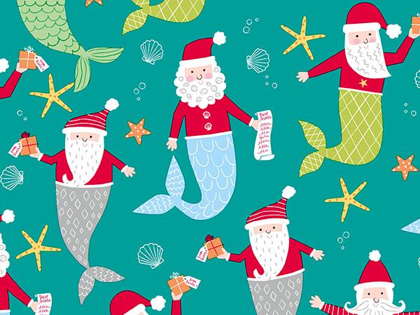 "Mermaid Santa Under the Sea Gift Wrap, 30"" x 417', Half Ream Roll"