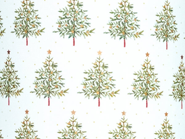"Fir Christmas Tree Embossed Gift Wrap, 26"" x 417', Half Ream Roll"