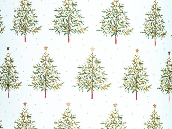 "Fir Christmas Tree Embossed Gift Wrap, 30"" x 417', Half Ream Roll"