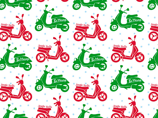 "Red and Green Mopeds Wrapping Paper Roll, 18"" x 833'"