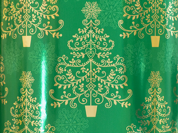 """Spiral Trees Wrapping Paper 26"""" x 417', Half Ream Roll"""