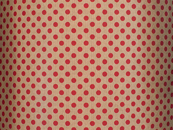 """Red Dots Wrapping Paper 26"""" x 417', Half Ream Roll"""