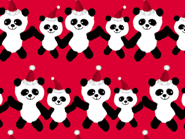 """Panda Claus Wrapping Paper 24"""" x 833', Full Ream Roll"""