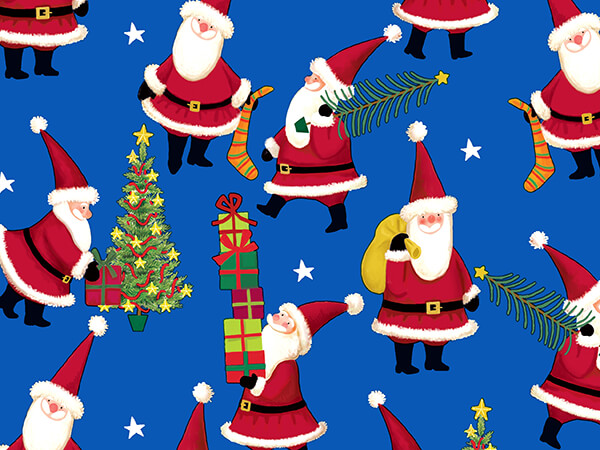 """Santa At Work Wrapping Paper 24"""" x 417', Half Ream Roll"""