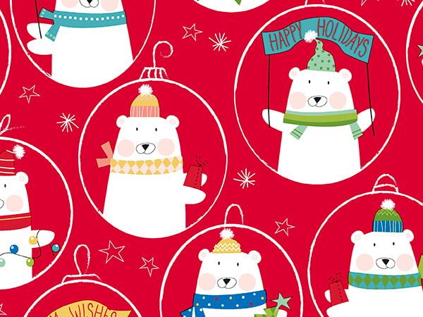 """Red Polar Expression Wrapping Paper 26"""" x 417', Half Ream Roll"""