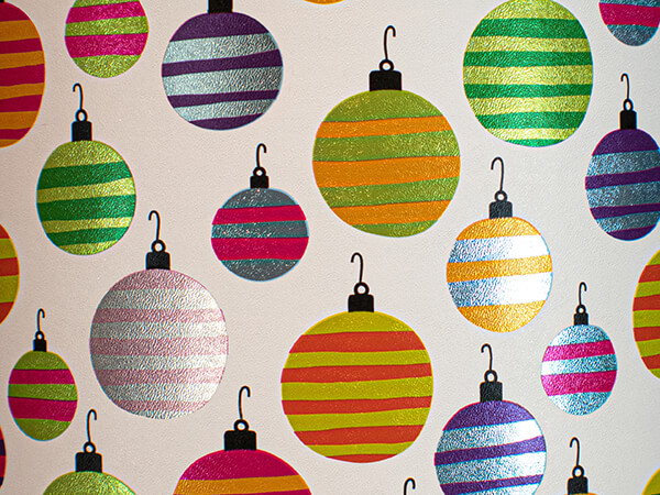 """Hanging Around Ornaments Wrapping Paper, 24"""" x 417', Half Ream Roll"""