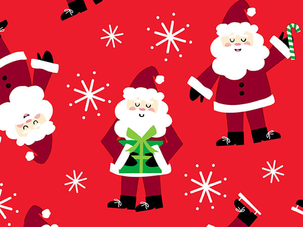 """Santa Wrapping Paper 30"""" x 833', Full Ream Roll"""