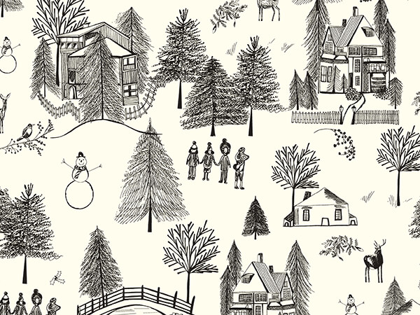 """Wintertown Wrapping Paper 30"""" x 833', Full Ream Roll"""