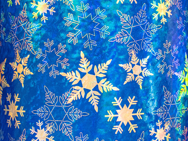 """Geo Blue Snowflakes Wrapping Paper 24"""" x 417', Half Ream Roll"""