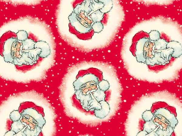 "Santa Shhh Wrapping Paper 30"" x 417', Half Ream Roll"