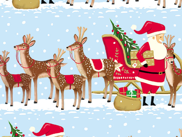 """Santa and Reindeer Team Wrapping Paper, 30"""" x 417', Half Ream Roll"""