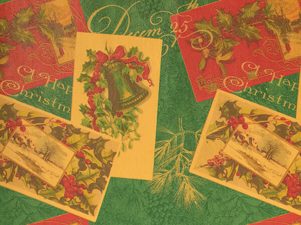 """Vintage Christmas Postcards Gift Wrap, 30"""" x 833', Full Ream Roll"""