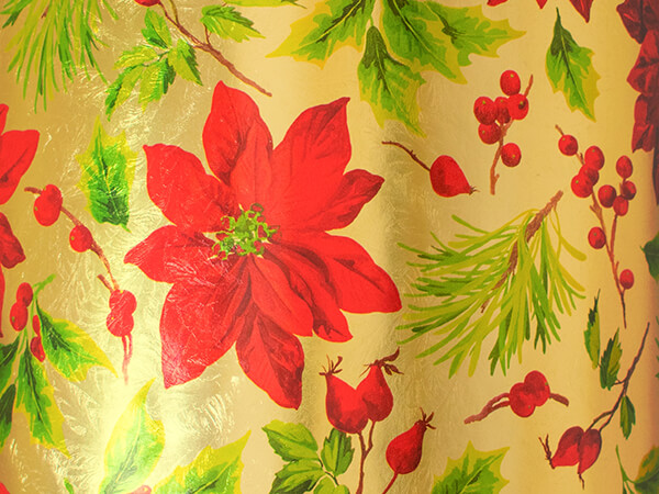 """Poinsettias Wrapping Paper 30"""" x 417', Half Ream Roll"""