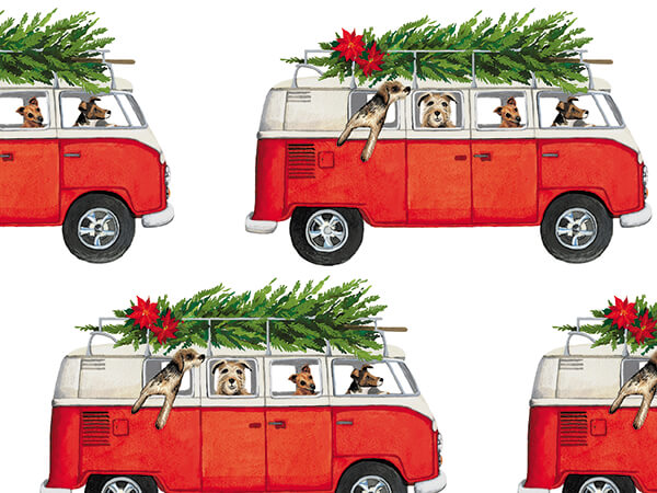 """Microbus Pups Wrapping Paper 26"""" x 417', Half Ream Roll"""