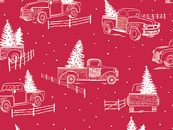 """Trucks and Tress Wrapping Paper 30"""" x 417', Half Ream Roll"""