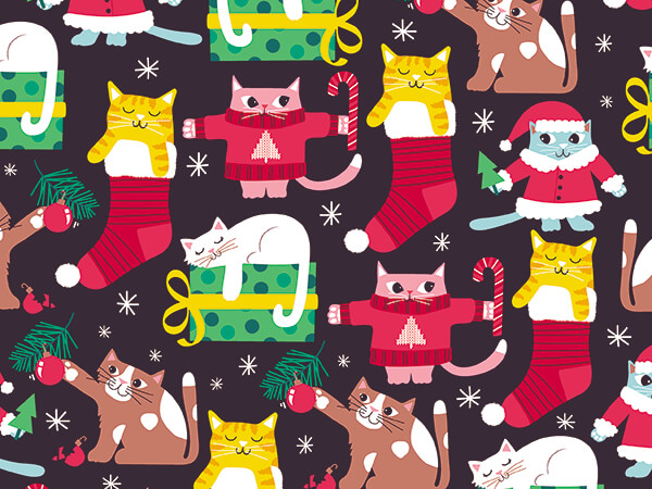 """Purrfect Holiday Wrapping Paper 30"""" x 833', Full Ream Roll"""