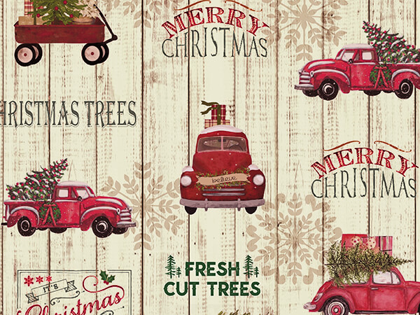 "Farm Fresh Trees Wrapping Paper 24"" x 417', Half Ream Roll"