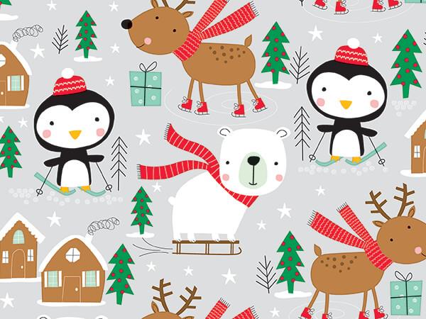 """Ski, Skate & Slide Wrapping Paper 24"""" x 833', Full Ream Roll"""