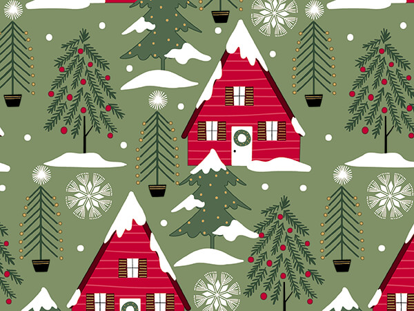 """Cozy Cabins Wrapping Paper 30"""" x 417', Half Ream Roll"""