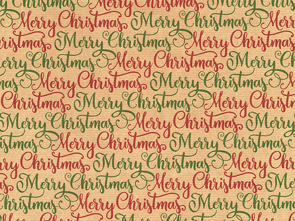 """Elegant Merry Christmas Wrapping Paper, 24"""" x 417', Half Ream Roll"""