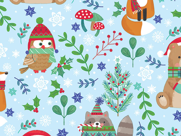 """Cozy Christmas Critters Wrapping Paper, 30"""" x 417', Half Ream Roll"""