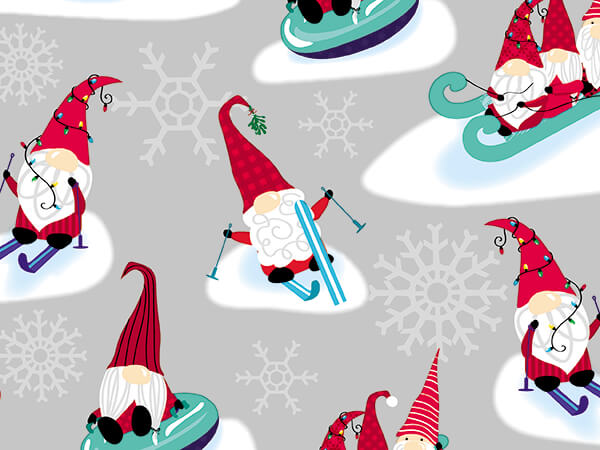 """I'll Be Gnome for Christmas Gift Wrap, 30"""" x 417', Half Ream Roll"""
