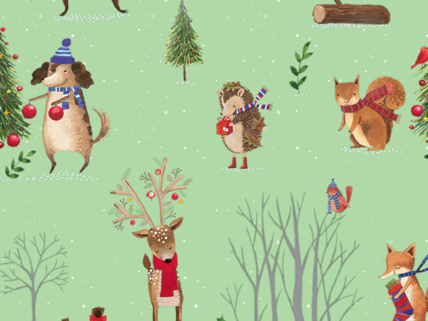 """Woodland Christmas Wrapping Paper 24"""" x 417', Half Ream Roll"""