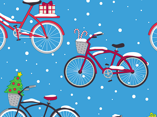 """Wheelie Christmas Bikes Wrapping Paper, 30"""" x 833', Full Ream Roll"""