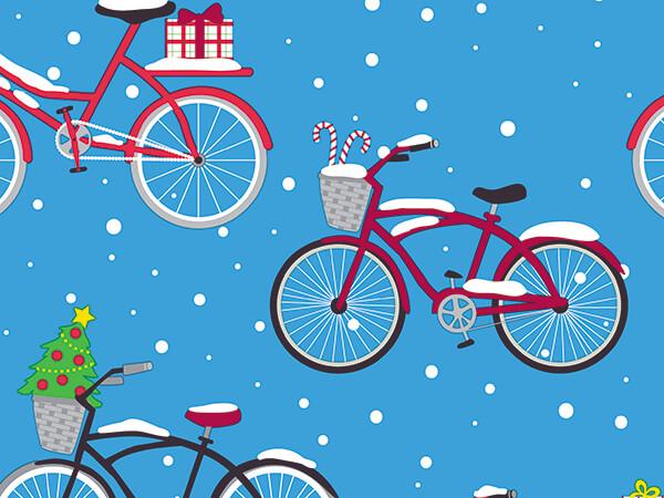 "Wheelie Christmas Bikes Wrapping Paper, 30"" x 417', Half Ream Roll"