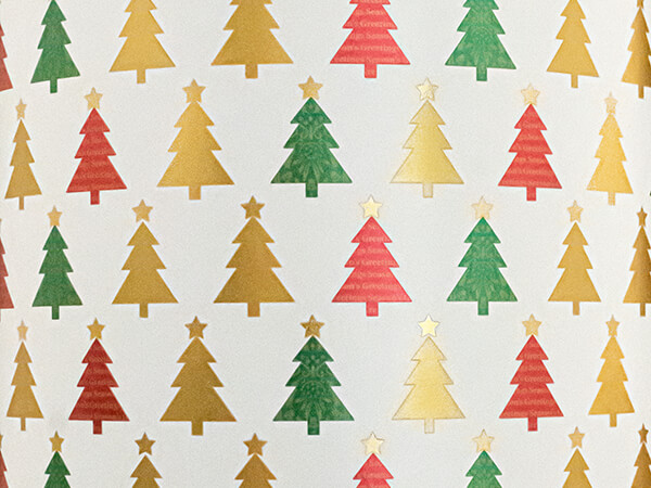 """Metallic Christmas Trees Wrapping Paper, 24"""" x 833', Full Ream Roll"""