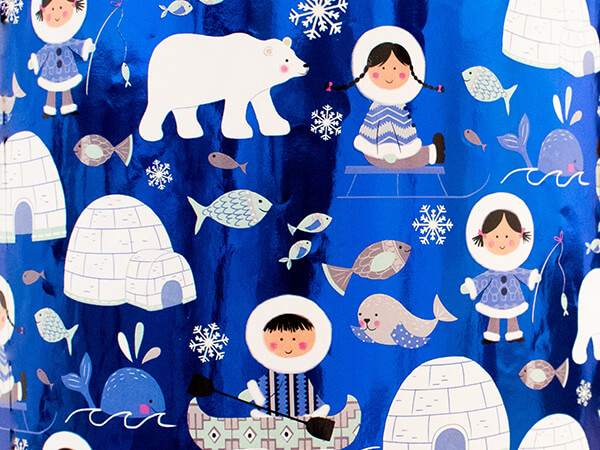 """Arctic Life Wrapping Paper 24"""" x 417', Half Ream Roll"""