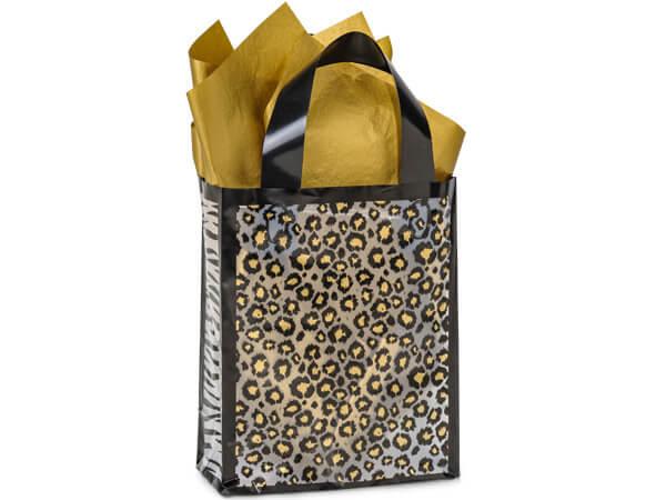 """Leopard Safari Plastic Gift Bags, Cub 8x4x10"""", 250 Pack, 3 mil"""