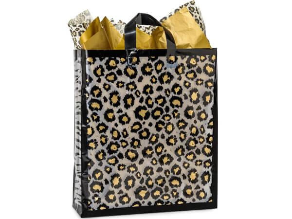 "Leopard Safari Plastic Gift Bags, Queen 16x6x16"", 100 Pack, 3 mil"