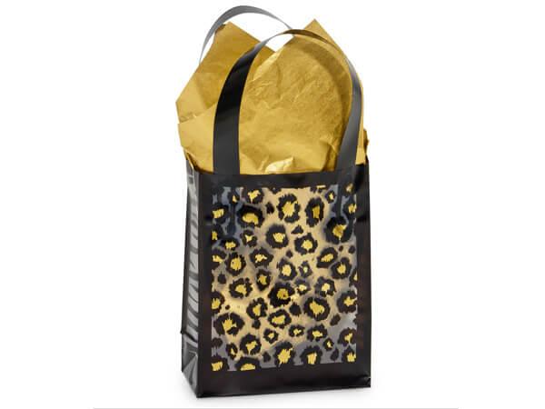 """Leopard Safari Plastic Gift Bags, Jewel 4x2x5.25"""", 25 Pack, 3 mil"""