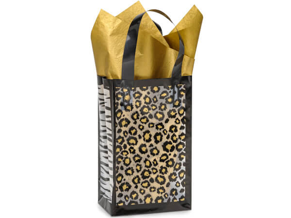 "Leopard Safari Plastic Gift Bags, Rose 5.25x3.25x8.5"", 25 Pack, 3 mil"