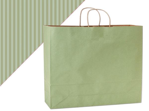 "Sage Green Shadow Stripe Kraft Bags Vogue 16x6x13"", 250 Pack"