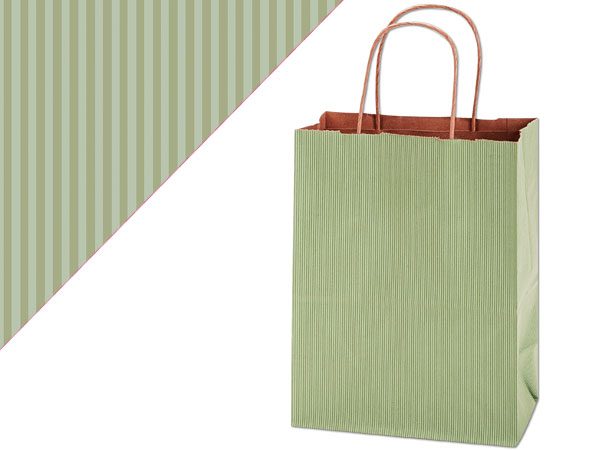 "Sage Green Shadow Stripe Kraft Bags Cub 8x4.75x10.5"", 25 Pack"