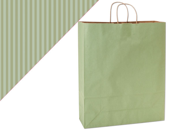 Queen Sage Green Shadow Stripe Bags 25 Pk 16x6x19-1/4""