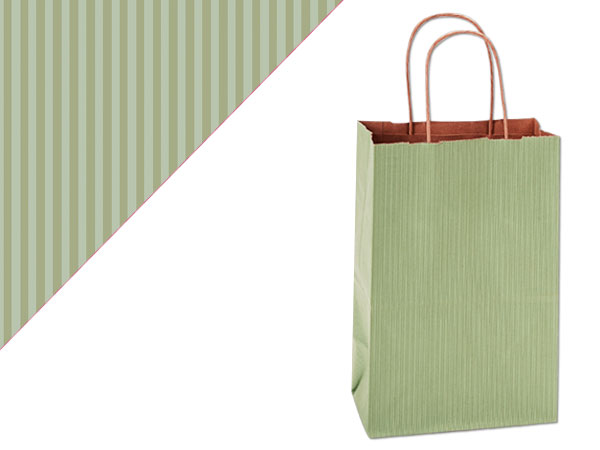 Rose Sage Green Shadow Stripe Bags 25 Pk 5-1/2x3-1/4x8-3/8""