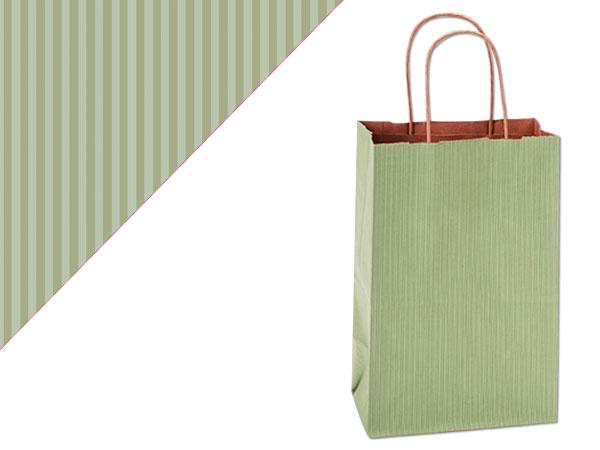 "Sage Green Shadow Stripe Kraft Bags Rose 5.5x3.25x8.375"", 25 Pack"