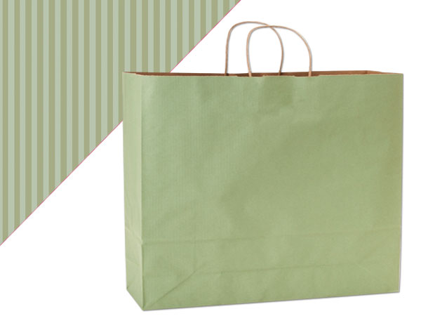 Vogue Sage Green Shadow Stripe Bags 25 Pk 16x6x13""