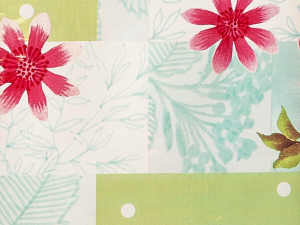 """**Floral Blocks 24""""x417' Gift Wrap Counter Roll"""